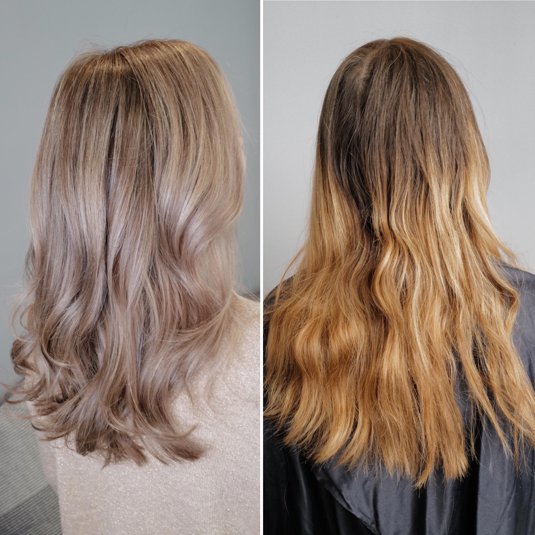 mörkblond toning på blekt hår